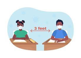 distanciamento social na escola ilustração vetorial 2d vetor