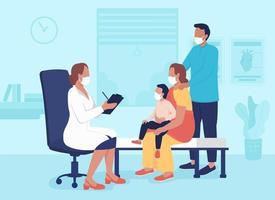 ilustração em vetor cor plana visita consultório médico