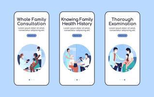 modelo de vetor plano de consulta ao médico de família para integração de tela de aplicativo móvel