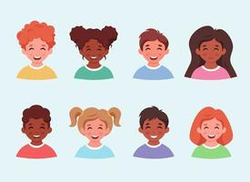 Conjunto de avatares e retratos de crianças. meninos e meninas de diferentes etinidades. vetor