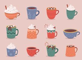 bebidas quentes de outono e inverno. bebidas quentes de natal, chocolate quente, café. vetor
