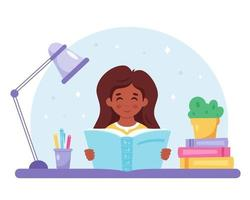 livro de leitura de menina negra. menina estudando com um livro. vetor
