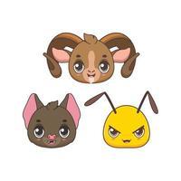 coleção de quatro ícones de animais fofos de desenho animado vetor