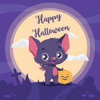 saudação do dia das bruxas com morcego fofo de desenho animado vetor