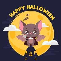 saudação de halloween com um morcego vampiro fofo e fundo noturno vetor