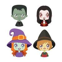 coleção de quatro personagens de halloween vetor