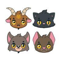coleção de quatro ícones de animais fofos de halloween vetor