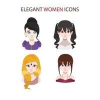 conjunto de quatro ícones femininos elegantes vetor