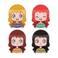 coleção de avatares de garotas fofas com quatro expressões e esquemas de cores diferentes vetor