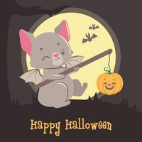 saudação fofa de halloween com morcego piscando vetor
