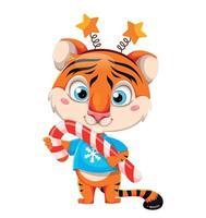 personagem de desenho animado tigre segurando um grande bastão de doces vetor