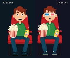 homem sentado no cinema e assistindo a um filme, cinema 2D e 3D. vetor