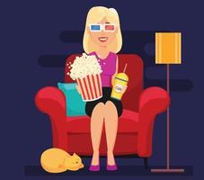 mulher em casa sentada em uma poltrona confortável e assistindo filme em óculos 3d. vetor