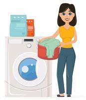 dona de casa lava roupa na máquina de lavar. linda mulher fazendo trabalho doméstico. vetor