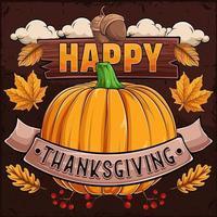 poster feliz dia de ação de graças com abóbora, folhas de outono, nozes e cranberries vetor