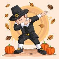 garotinho peregrino fazendo dabbing dance para o dia de ação de graças, dia nacional da abóbora e festival da colheita vetor