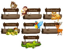 Dias da semana com muitos animais vetor
