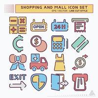 definir ícone shopping e shopping - estilo de corte de linha vetor