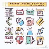 definir ícone de compras e shopping - mbe syle vetor
