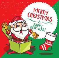 Feliz Natal. desenho animado bonito papai noel segurando sinos de natal sentar dentro do presente presente desejando feliz natal vetor