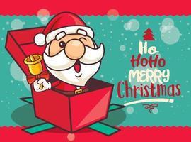 Feliz Natal. desenho animado bonito papai noel segurando um sino de natal sentado dentro de uma caixa de presente desejando feliz natal vetor