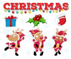 Modelo de cartão de Natal com renas vetor