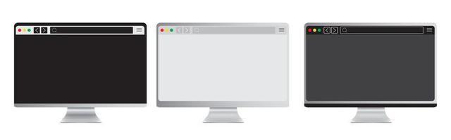 conjunto de tela de maquete do dispositivo portátil realista com a página do navegador. computador portátil editável com barra de pesquisa. pc isolado com display em branco do navegador em fundo branco. desenho vetorial vetor
