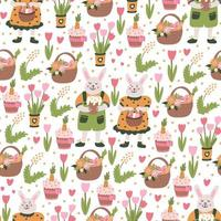 padrão sem emenda de Páscoa com coelhos, flores da primavera e doces vetor