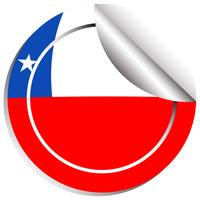 Bandeira do Chile na etiqueta redonda vetor