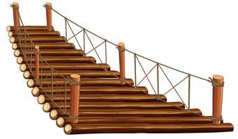 Ponte de madeira com corda vetor