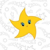 estrela amarela dos desenhos animados. ilustração vetorial plana simples. vetor