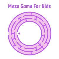 labirinto redondo abstrato. jogo para crianças. quebra-cabeça para crianças. uma entrada, uma saída. enigma do labirinto. ilustração em vetor plana isolada no fundo branco.