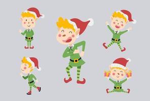conjunto de design de personagens de elfo fofo. Ilustração em vetor desenhos animados engraçados e felizes.