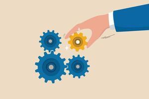 solução de negócios para corrigir o problema, experiência e habilidade para impulsionar o sucesso, liderança para conectar o conceito de estratégia de parte do negócio, mão do empresário colocar uma engrenagem ou roda dentada importante para fazer a máquina funcionar bem. vetor