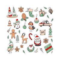 Natal conjunto de elementos doodle isolado em um fundo branco. vetor