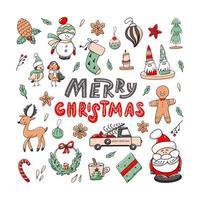 Natal conjunto de elementos doodle com letras de feliz Natal, isolado no fundo branco. vetor