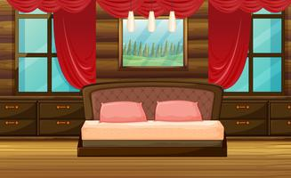 Cena do quarto com cama de madeira vetor