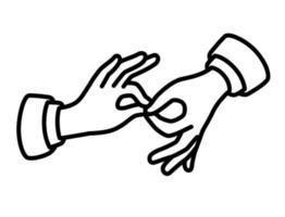 ícone de mãos de contorno. a imagem está isolada em um fundo branco vetor