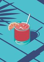 ilustração de suco de verão na praia vetor