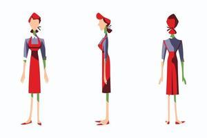 ilustração plana de personagem serva vetor