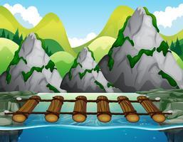 Ponte de madeira sobre o rio vetor