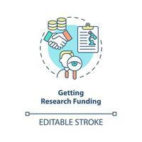 obtendo ícone do conceito de financiamento de pesquisa vetor