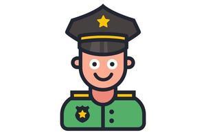 ícone de um policial sorridente em um fundo branco. vetor