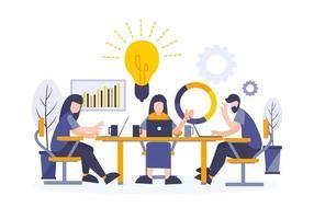 discussão de negócios e metáfora do conceito de brainstorming vetor
