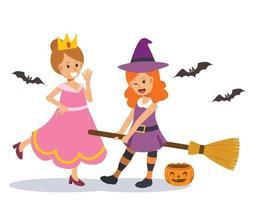 2 garotas bonitas com fantasia de halloween. princesa feiticeira vetor