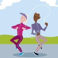 idosos ativos, velhos e mulheres praticando exercícios ao ar livre vetor