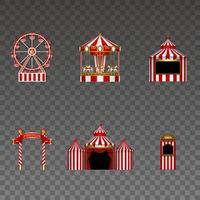 conjunto de elementos de parque de diversões. roda-gigante isolada, carrossel, tenda, quadro indicador, circo e cabine de ingressos. elementos do luna park para fundos de carnaval e feriados vetor