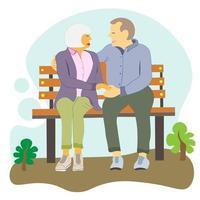 idosos estão sentados no banco. vovó e vovó passam um tempo juntos, conversando ao ar livre. estilo de vida saudável dos idosos, aposentados vetor