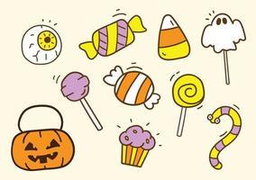 coleção de doces de Halloween doçura ou travessura desenhados à mão no estilo bonito dos desenhos animados. vetor