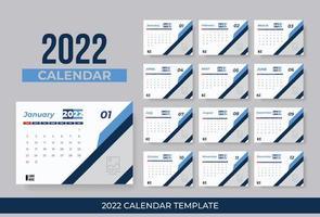 calendário de mesa 2022 design. design de modelo de calendário de ano novo. design de calendário de parede colorido moderno para negócios ou uso pessoal. vetor